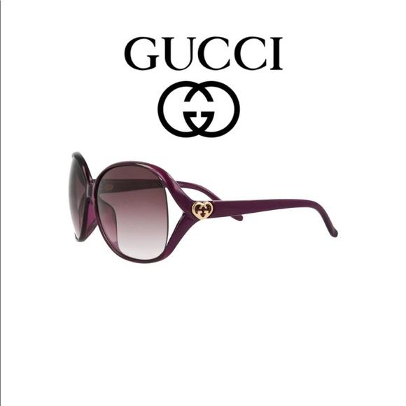 c49cc0c921f59 Oversized Gucci Purple Sunglasses 62mm Heart Logo
